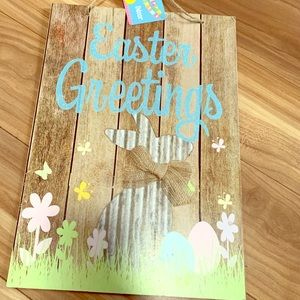 Other - Easter greetings rustic bunny bow flowers sign